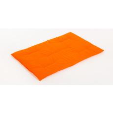 Bavlněná podložka oranžová pelíšek plněná rounem 125*85cm