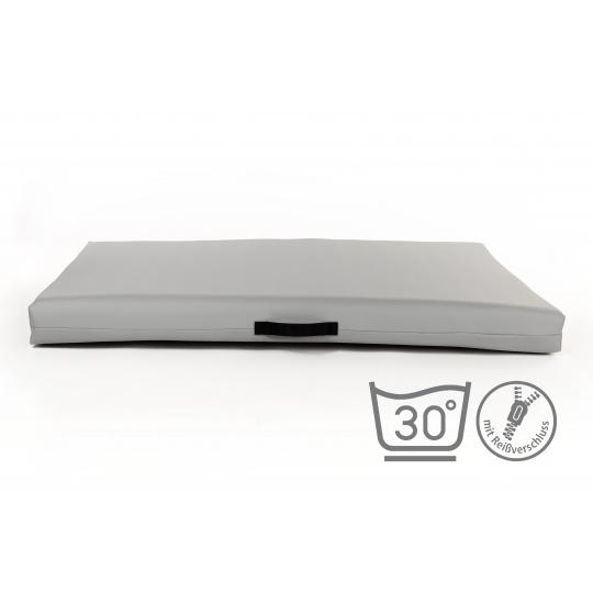 Matrace, pelech ze světle šedá ekokůže 4XL 120x80cm 10cm vysoká