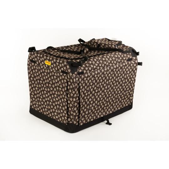 Autobox kenelka skládací COOL PET PLUS M 60*42*42cm hnědá s tlapkami