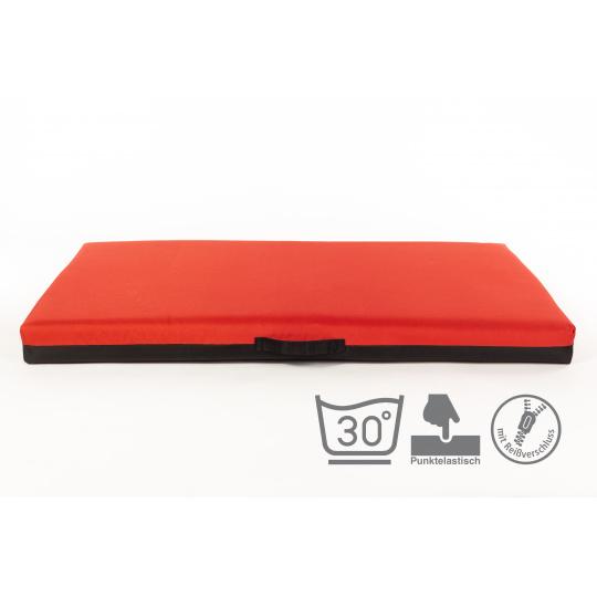 Ortopedická matrace, pelech paměťová pěna 10cm vysoká červená ekokůže 3XL 100x67cm