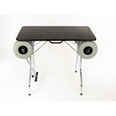 Stůl na úpravu psů, trimovací stůl skládací, velká gumová kola na ložiskách, rozměr pracovní plochy 100*60cm