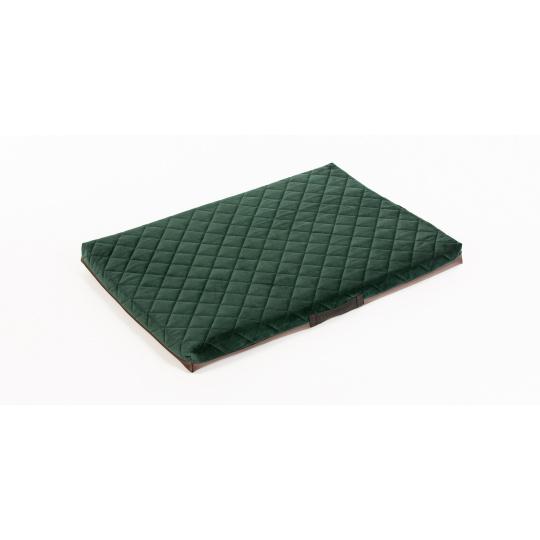 Ortopedická matrace prošívaný velur zelená materiál/ spodek hnědá ekokůže4XL 120x80cm 10cm vysoká