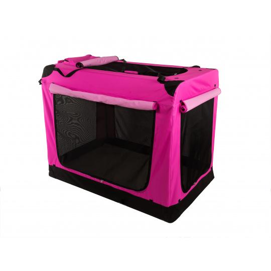 Kenelka, skládací box COOL PET  růžová S 49,5 x 34,5 x 35 cm